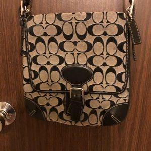 Coach crossbody purse. Black and grey.